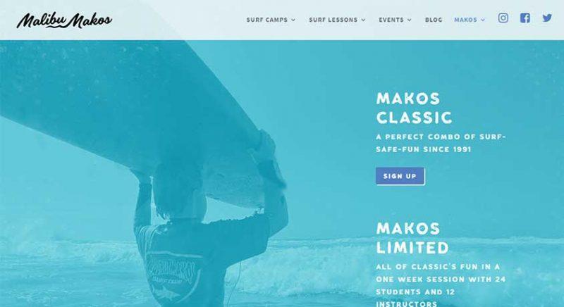 Malibu Makos homepage