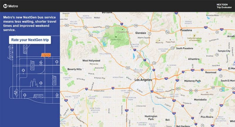 LA Metro NextGen trip planner homepage